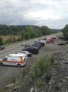Emergency vehicles from all over Ulster County wait to welcome him home.
