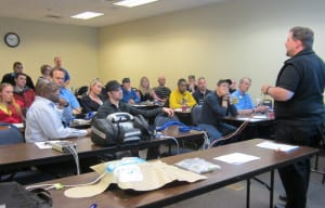 Zoll's Deployment Specialist, Jeff Rupple, gives a hands on lecture to Mobile Life staff on the new Zoll X Series.